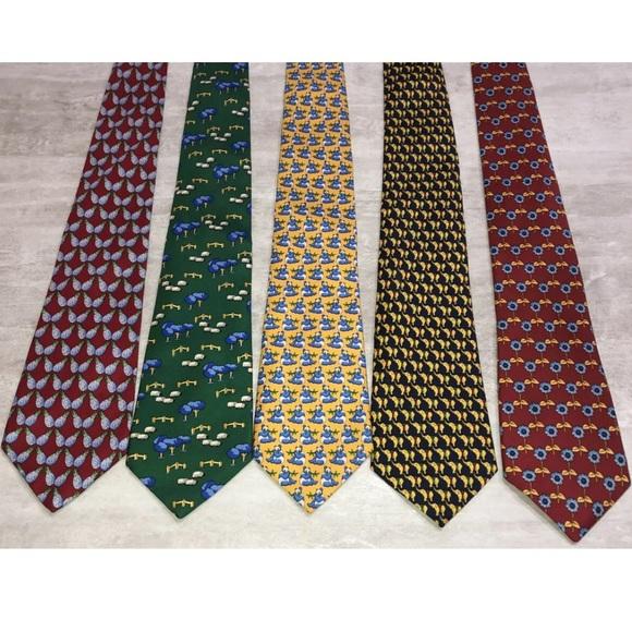 Lot Of 5 THOMAS PINK 100% Silk Ties